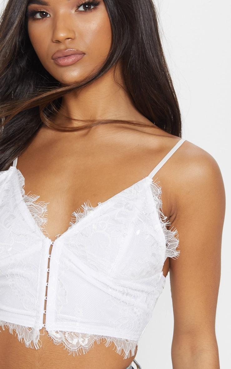 Brassière corset en cils dentelle blanche 5