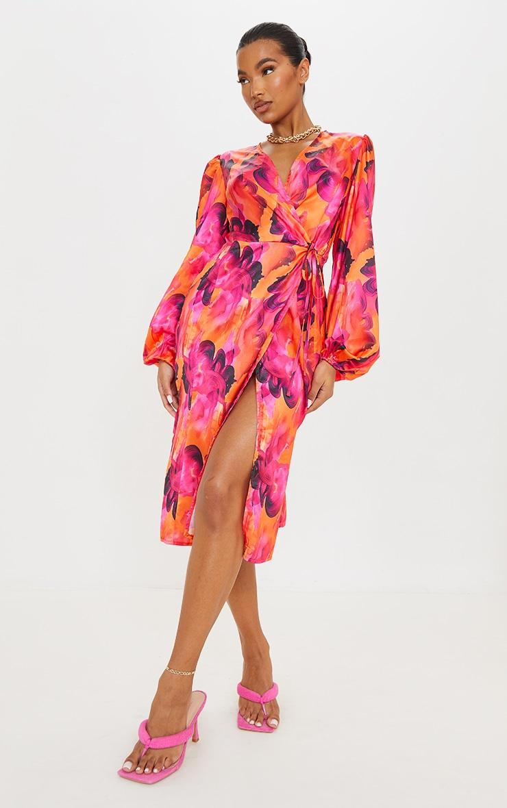 Orange Abstract Print Satin Balloon Sleeve Wrap Midi Dress 3