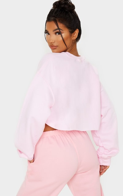 Baby Pink Chalet Girl Cropped Sweatshirt