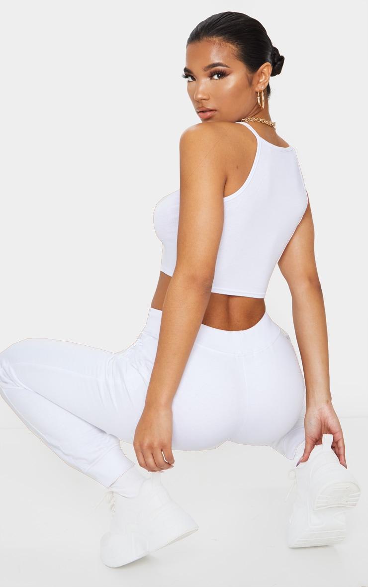 Crop top en jersey blanc à dos nageur 2