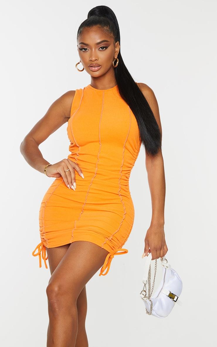 Shape Orange Overlock Stitch Sleeveless Ruched Side Bodycon Dress 1