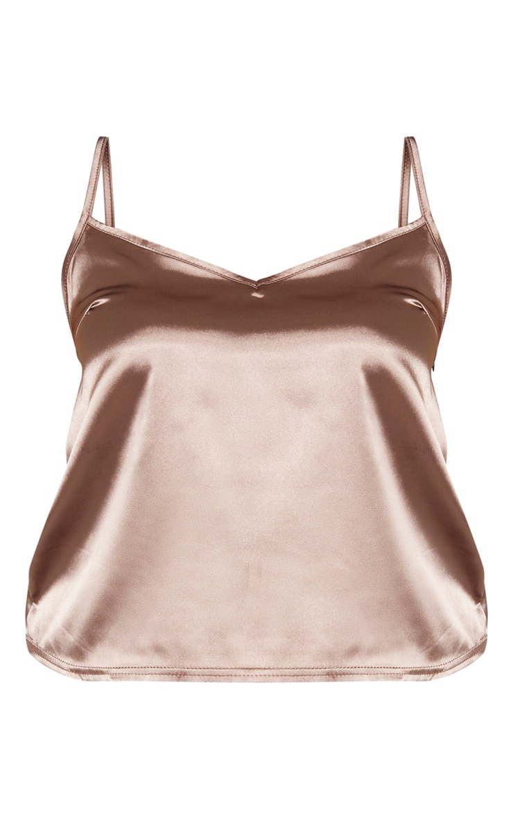 Plus Mocha Satin Cami Top  3
