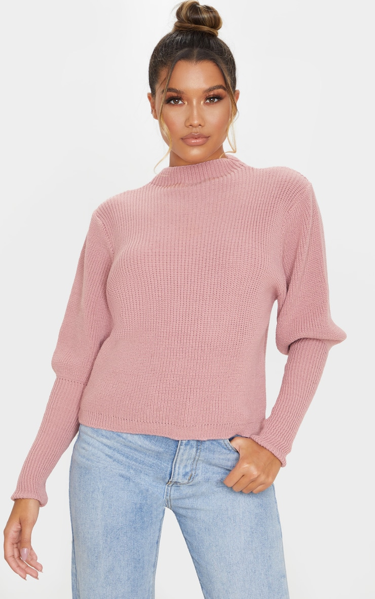 Dusty Pink Puff Sleeve Turtle Neck Jumper 1
