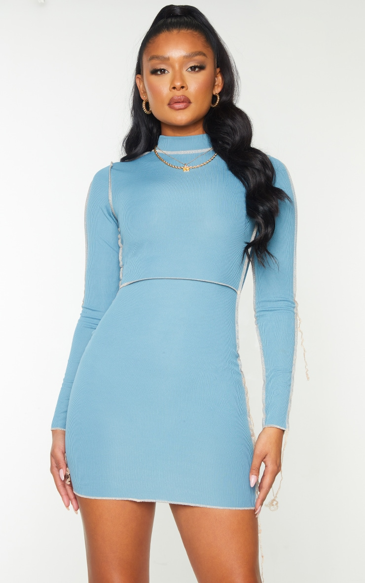 Mineral Blue Ribbed Overlock Stitch High Neck Long Sleeve Bodycon Dress 3
