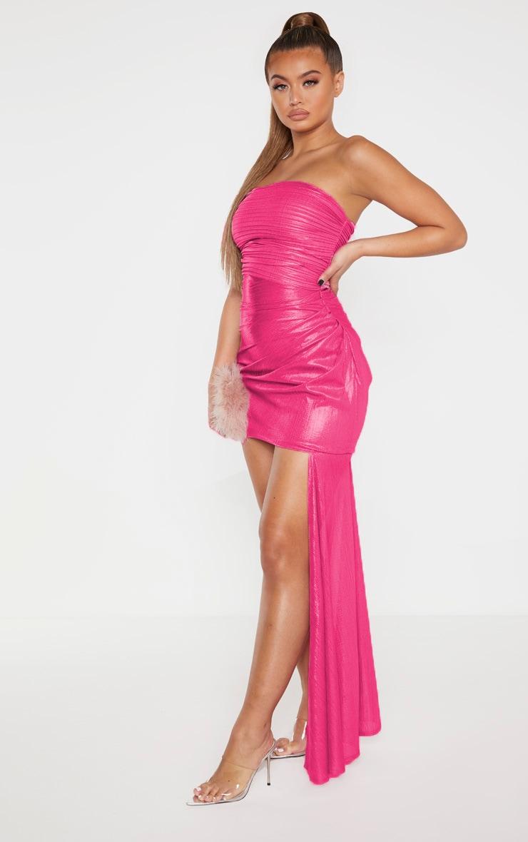Pink Metallic Bandeau Drape Bodycon Dress 3