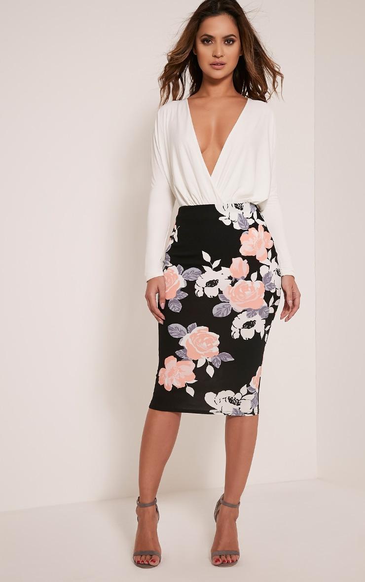 Francesca Peach Rose Print Midi Skirt 1