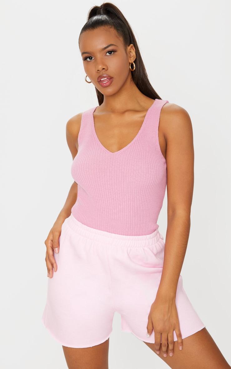 Pink Ribbed V Neck Knitted Vest 1