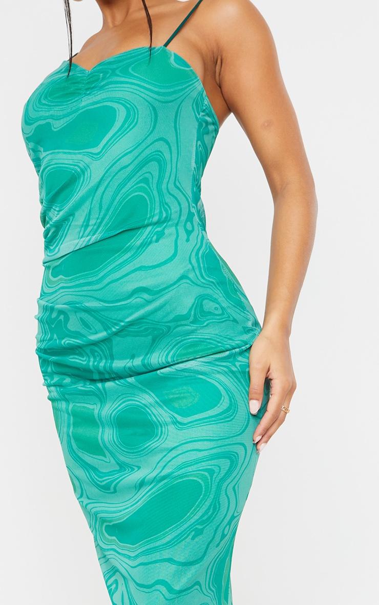 Green Tie Dye Mesh Asymmetric Strappy Midaxi Dress 4