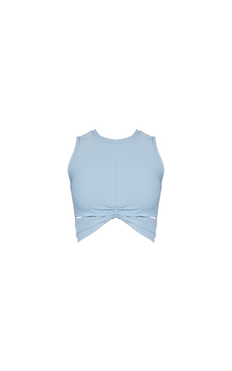 Dusky Blue Ribbed Textured Knot Cropped Gym Top 5