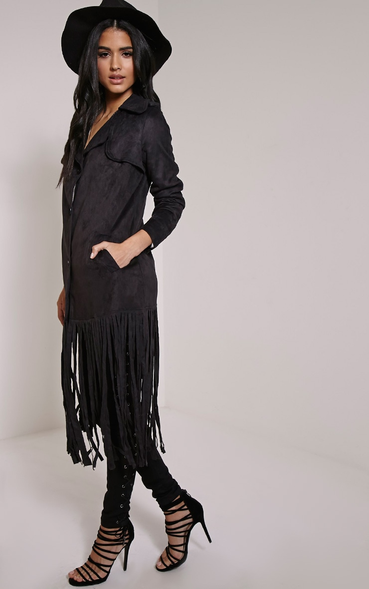 Jessica Black Fringe Trim Trench Coat 4