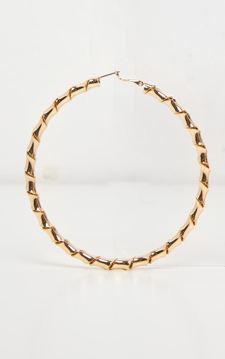 Gold Twisted Large Hoop Earrings 2
