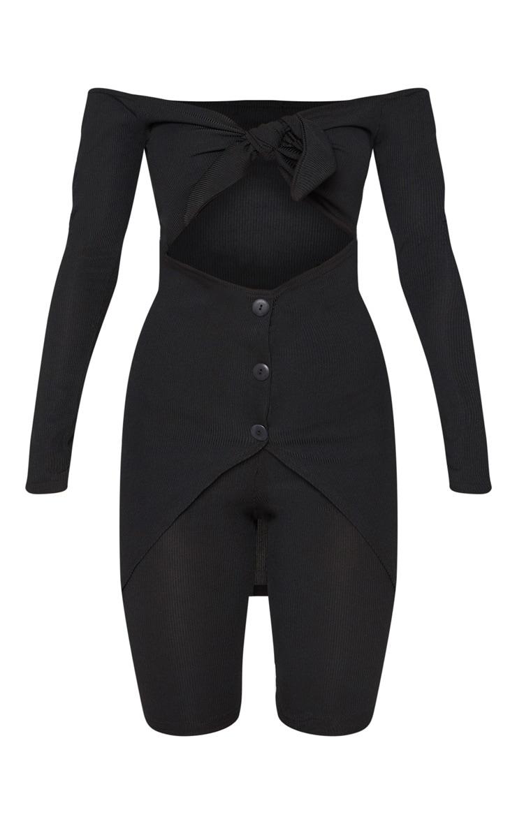 Black Bardot Tie Detail Button Up Unitard 3