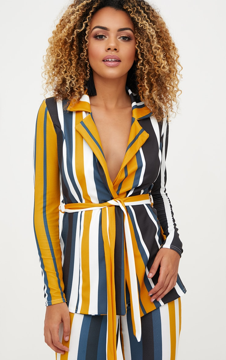 PRETTYLITTLETHING Mustard Striped Belted Blazer Cost For Sale usHzkjL