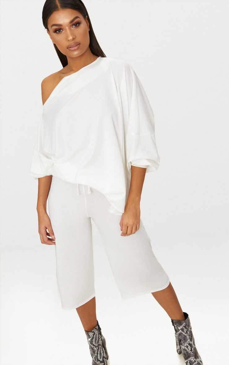 Cream Off The Shoulder Oversized Sweater
