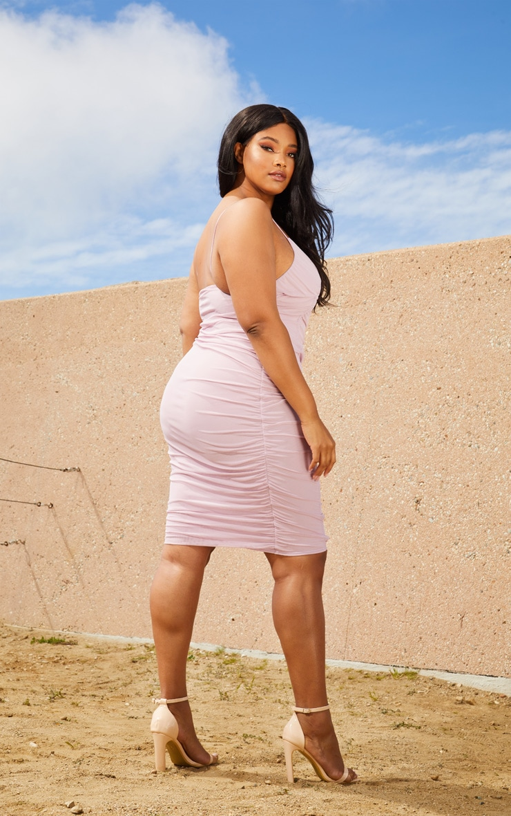 Plus Lilac Second Skin Ruched Mesh Plunge Midi Dress 2