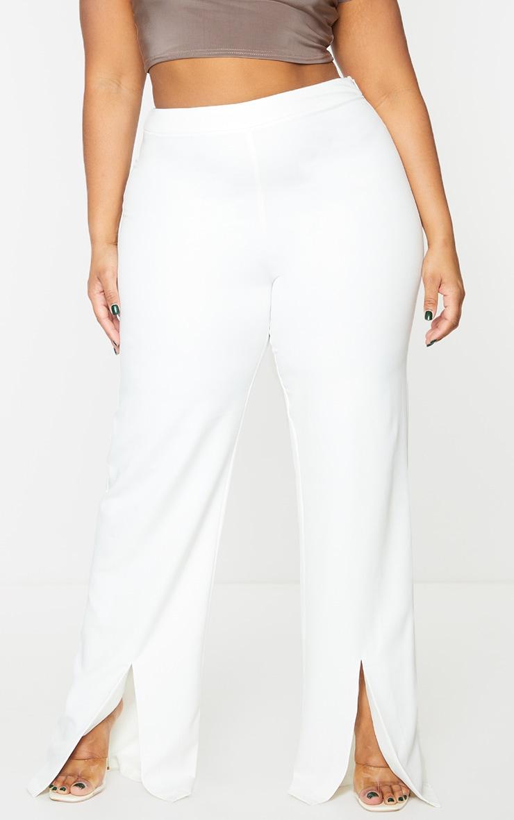 Plus White Split Hem Pants 2