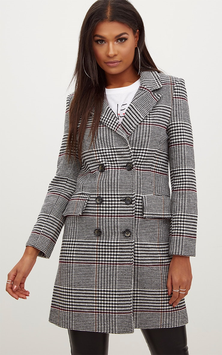 Grey Check Double Breasted Wool Coat 4