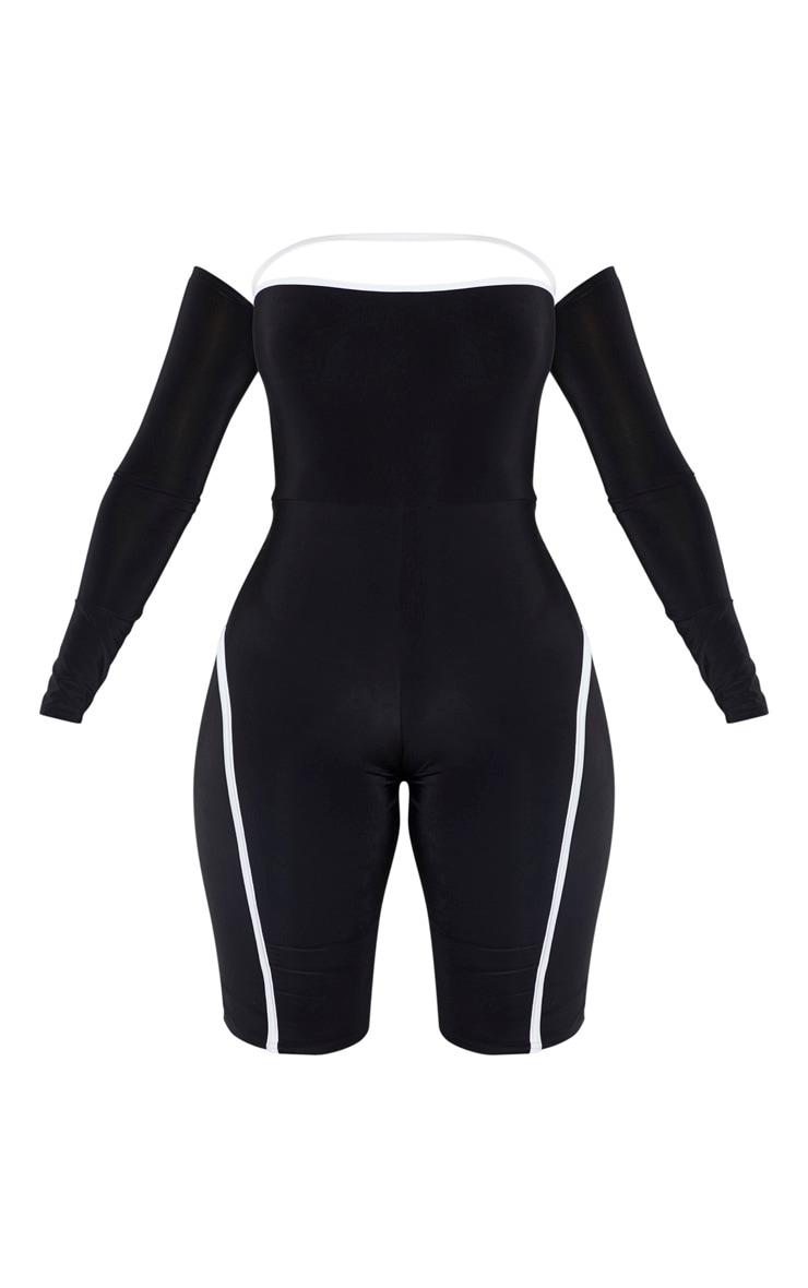Shape Black Binding Detail Bardot Unitard 3