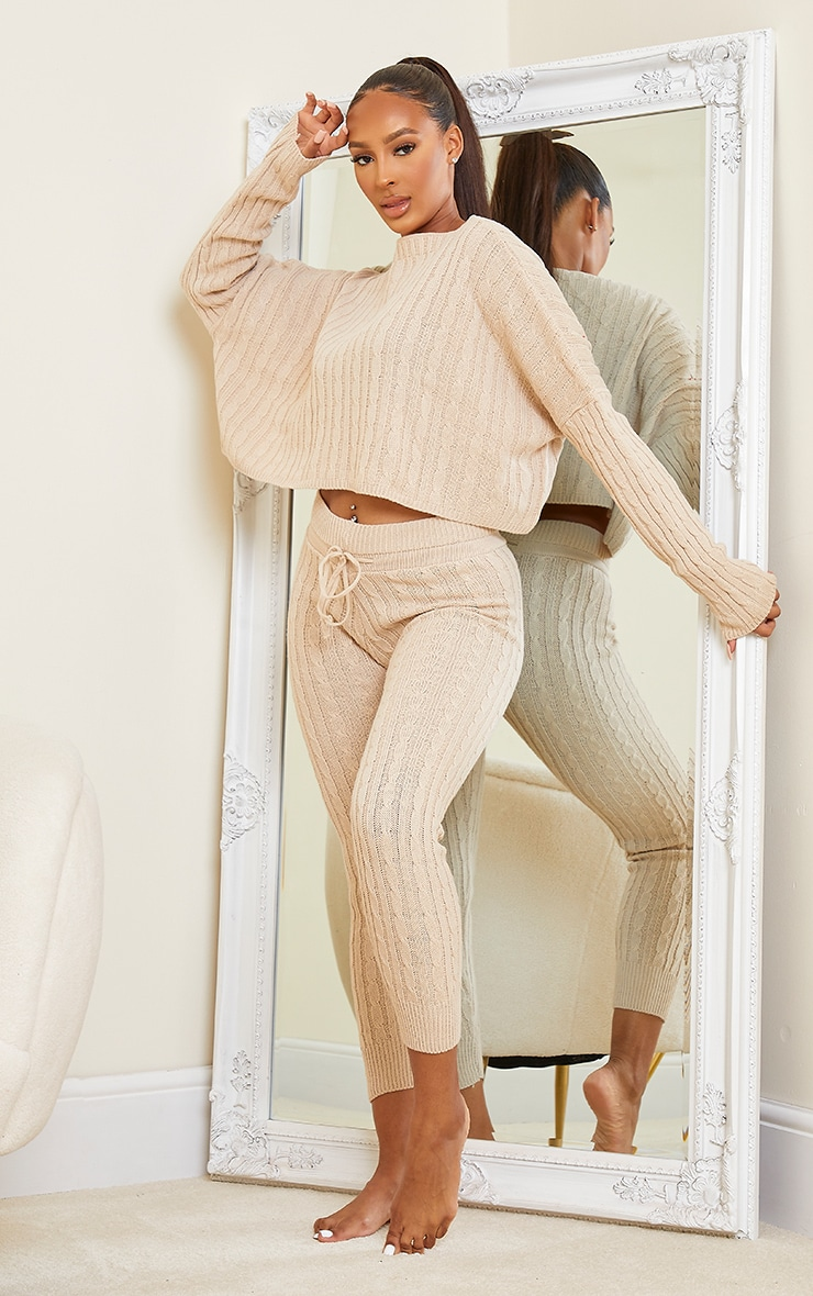 Stone Cable Knit Crop Jumper & Legging Set 3