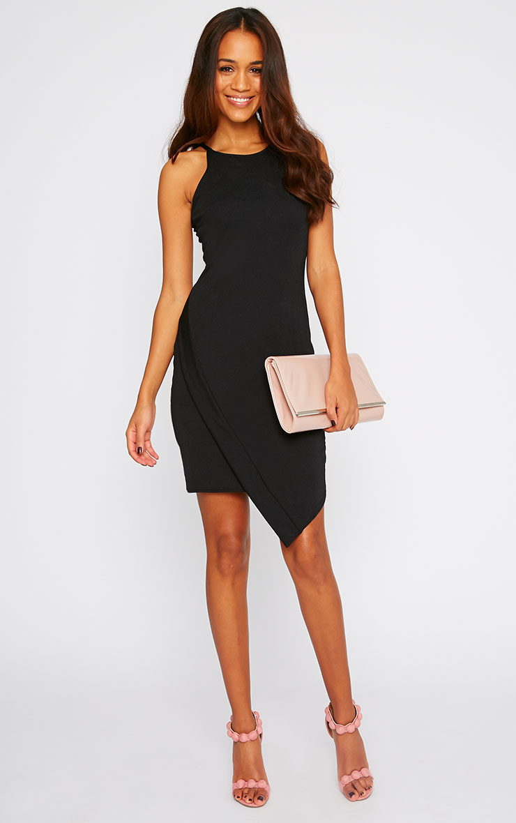 Vanessa Black Racer Neck Wrap Front Midi Dress 3