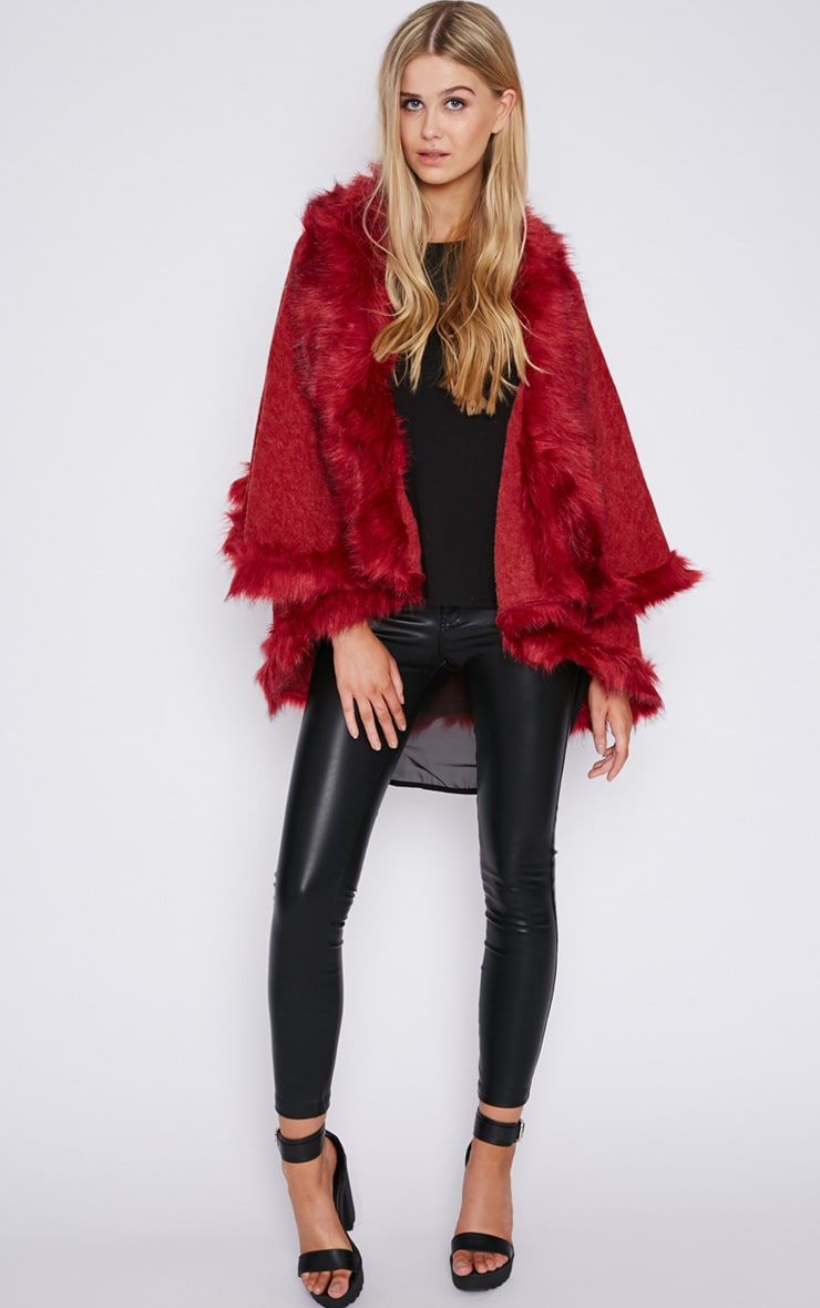 Mada Red Hooded Faux Fur Cape 5