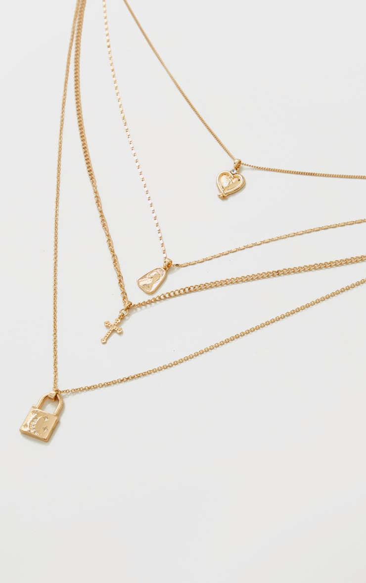 Gold Heart Cross And Padlock Assorted Necklace 3
