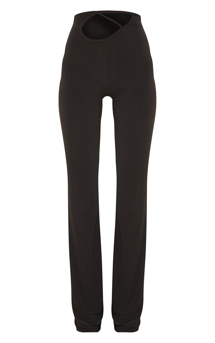 Black Slinky Cross Front Leggings 5