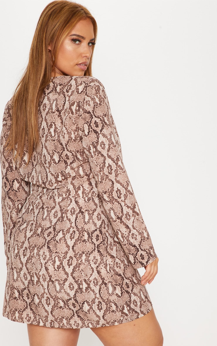 Plus Taupe Snake Print Long Sleeve Wrap Dress 2