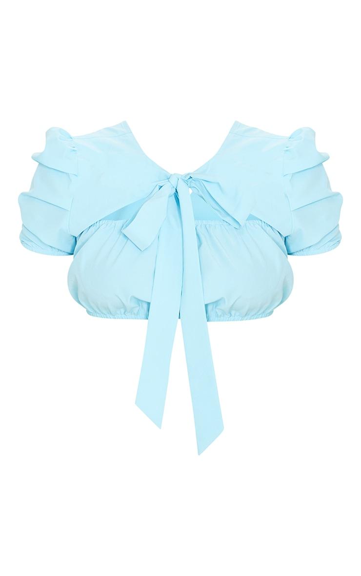 Blue Woven Puff Short Sleeve Tie Backless Crop Top 5