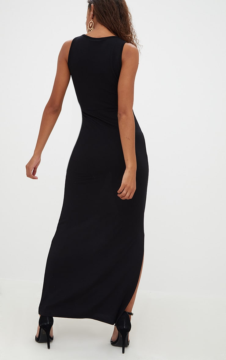 Petite Black Ladder Plunge Maxi Dress 2