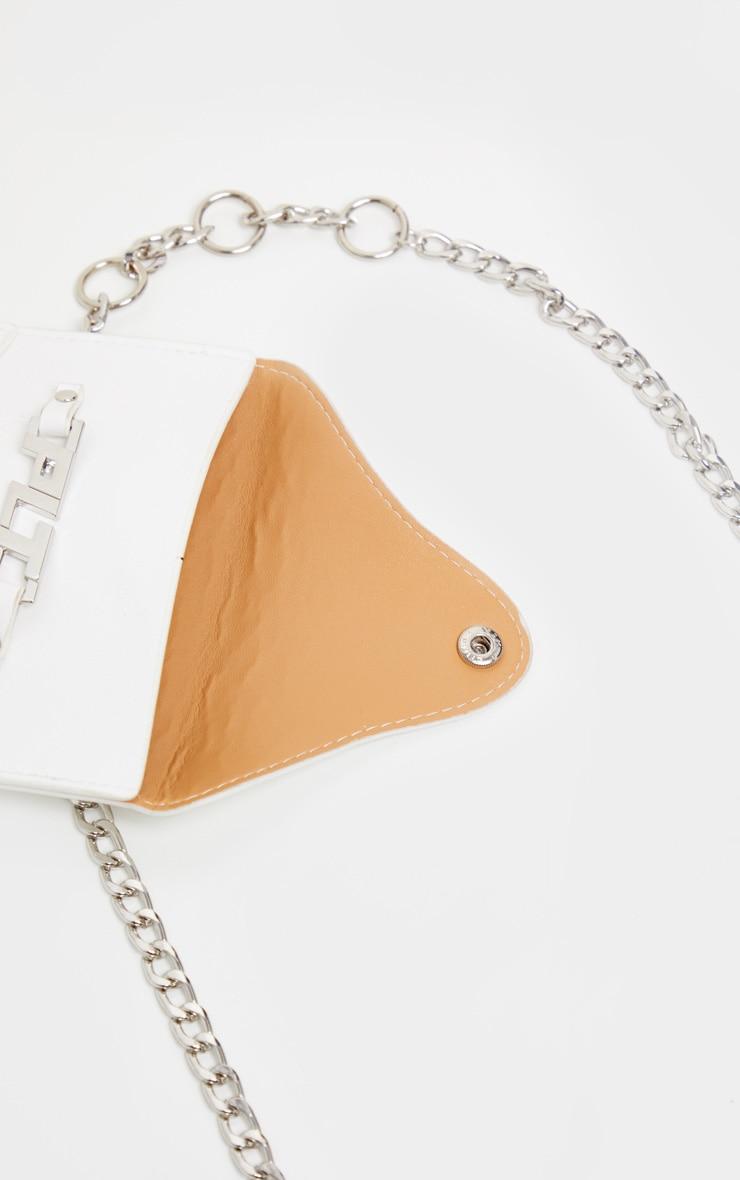 PRETTYLITTLETHING White PU Envelope Chain Bum Bag 4