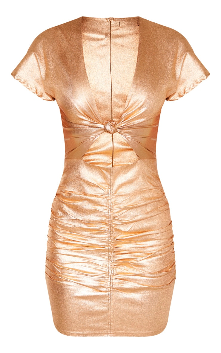 Bronze Metallic Cut Out Ruched Bodycon Dress 3