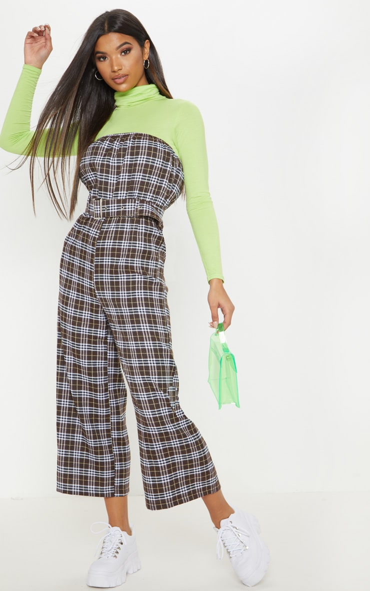 Chocolate Checked Belted Culotte Jumpsuit 1