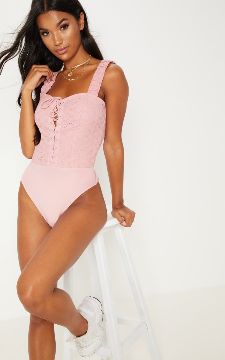 Pink Broderie Anglaise Lace Up Bodysuit 2