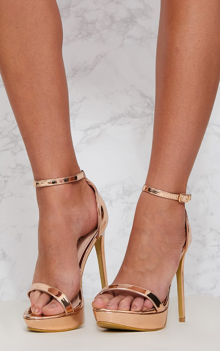 Rose Gold Platform Strap Heeled Sandal 2