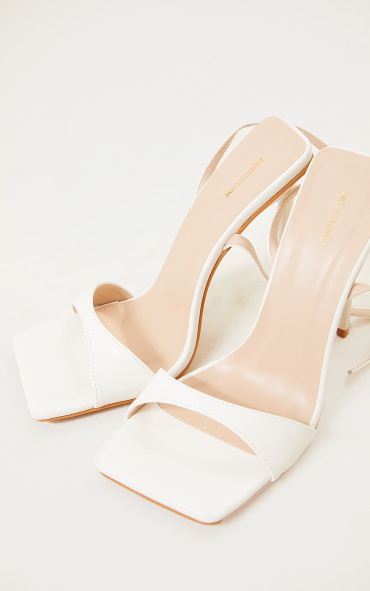 White PU Barely There Cross Back Strap High Heeled Sandals 3