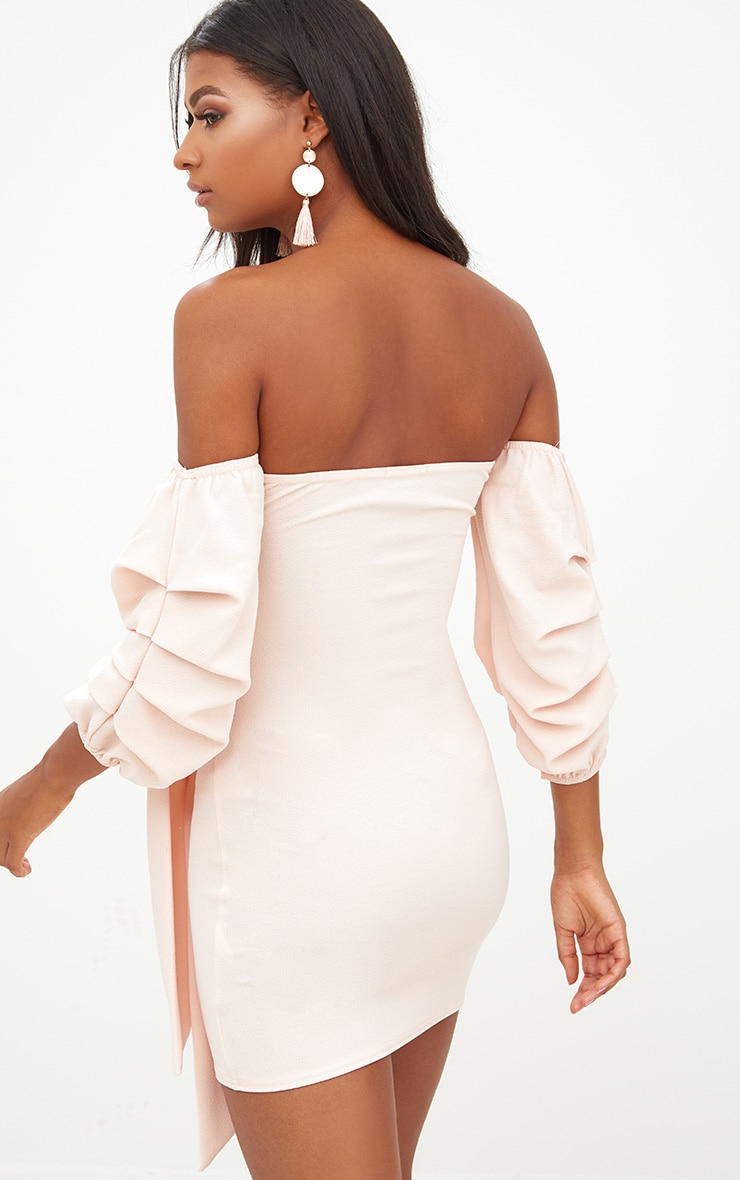 Nude Puff Sleeve Tie Front Bodycon Dress 2
