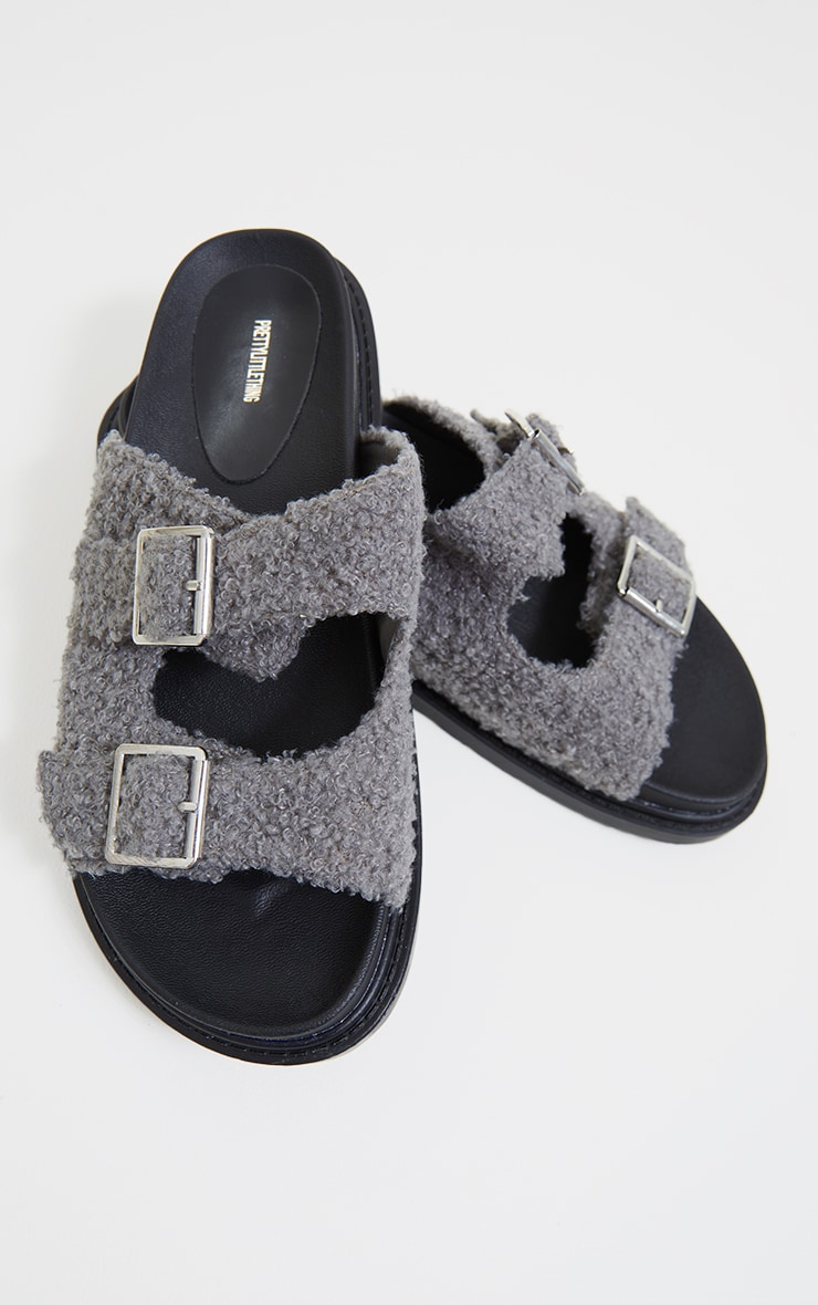 Grey Borg Buckle Footbed Sandals 3