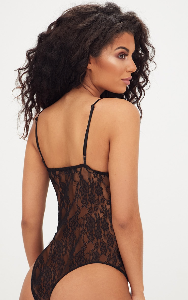 Black Strappy Cupped Lace Bodysuit 2