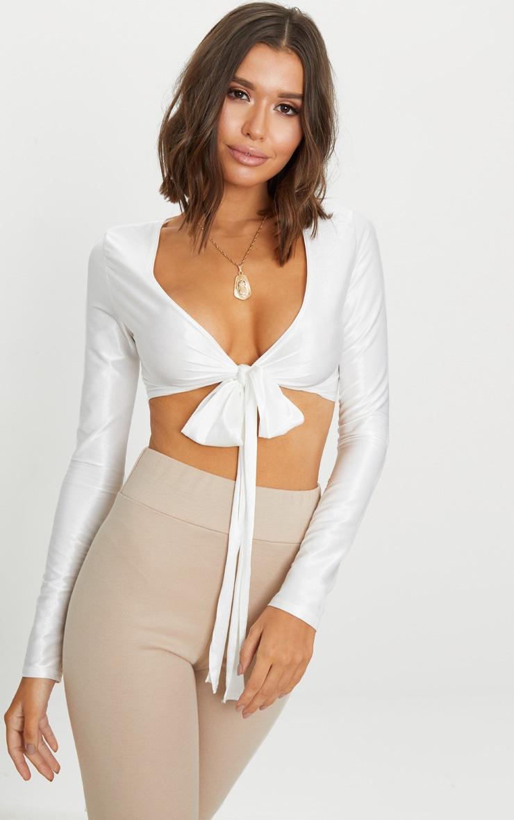 Cream Slinky Shimmer Tie Front Long Sleeve Crop Top 1