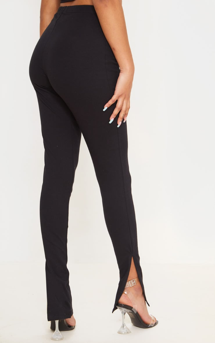 Petite Black Cotton Jersey Split Hem Leggings 3