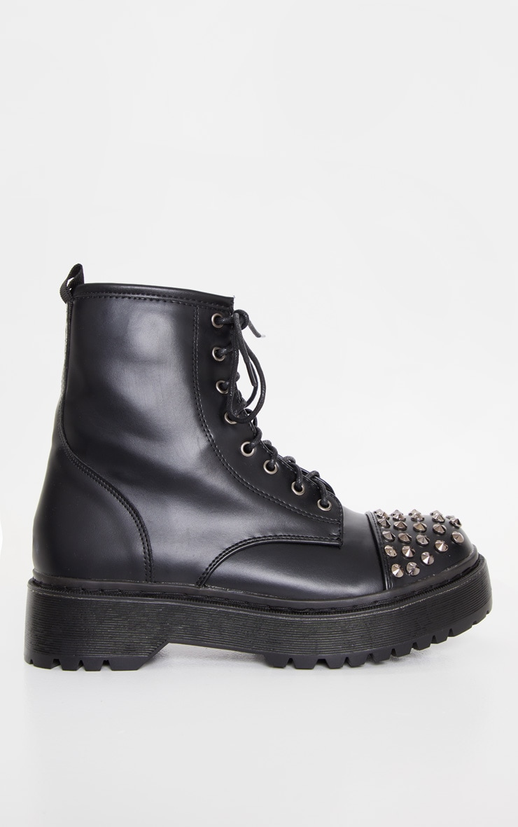 Black Stud Toecap Chunky Lace Up Boot 3
