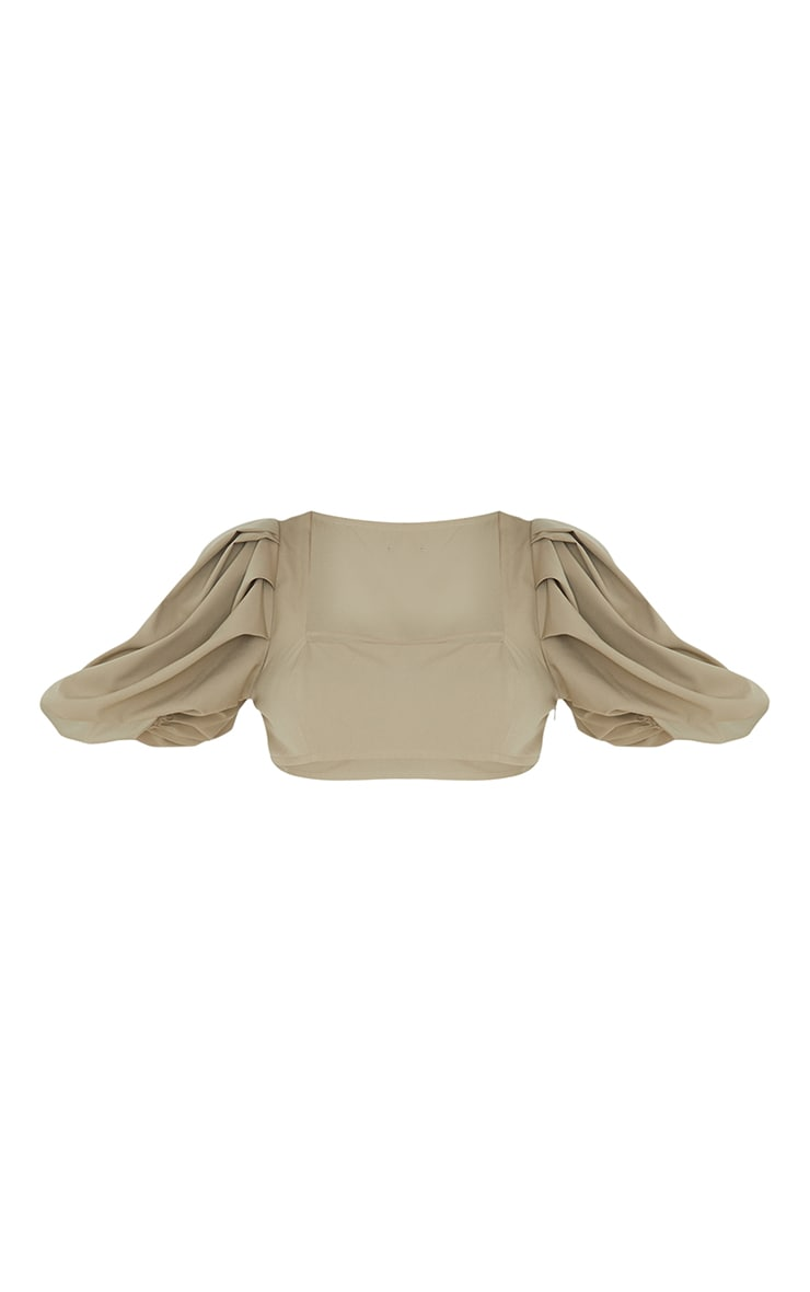Sage Green Woven Pleat Balloon Sleeve Square Neck Crop Top 5