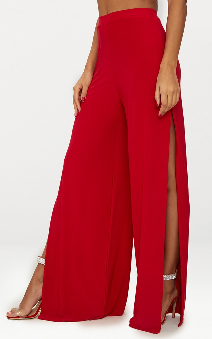 Red Split Leg Slinky Trousers 2