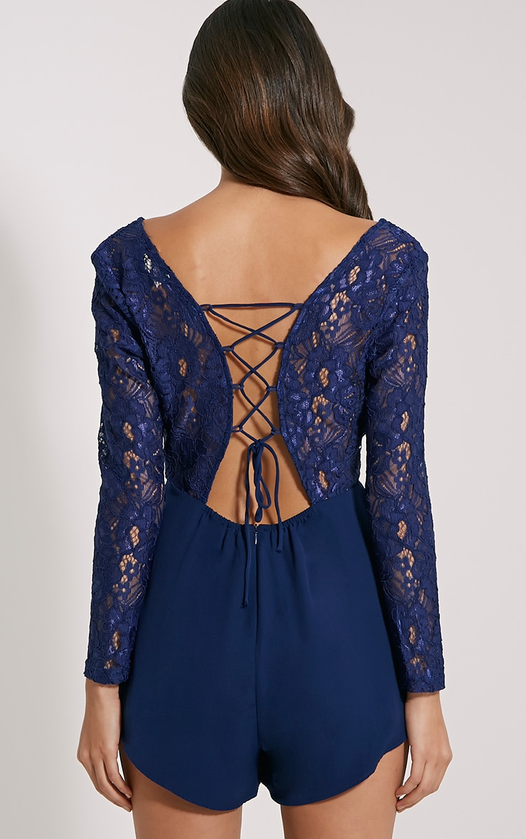 Angelica Navy Lace Up Back Playsuit 2