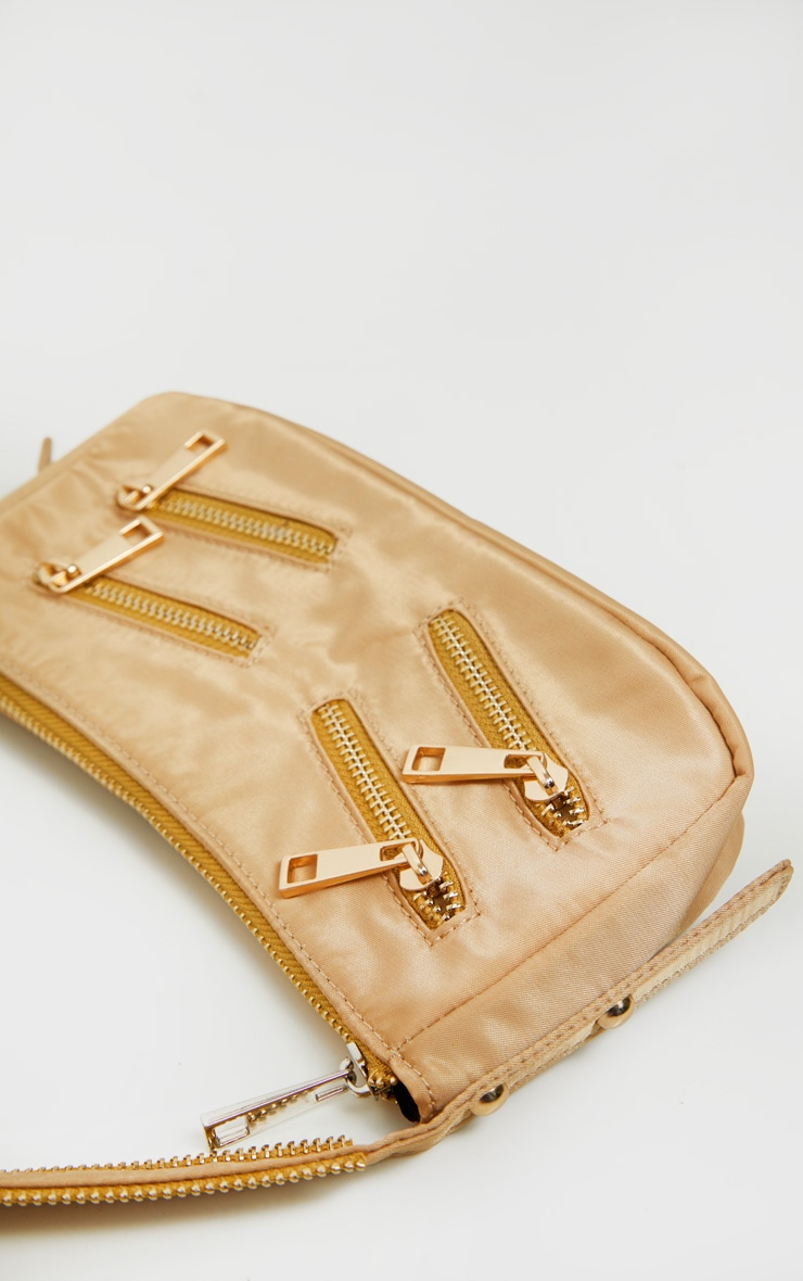 Camel Satin Front Zip Detail Shoulder Bag 3