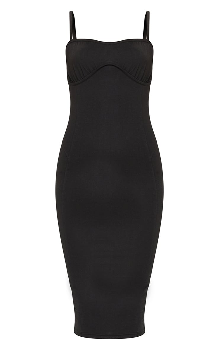 Black Cotton Underbust Binding Lace Back Midi Dress 5