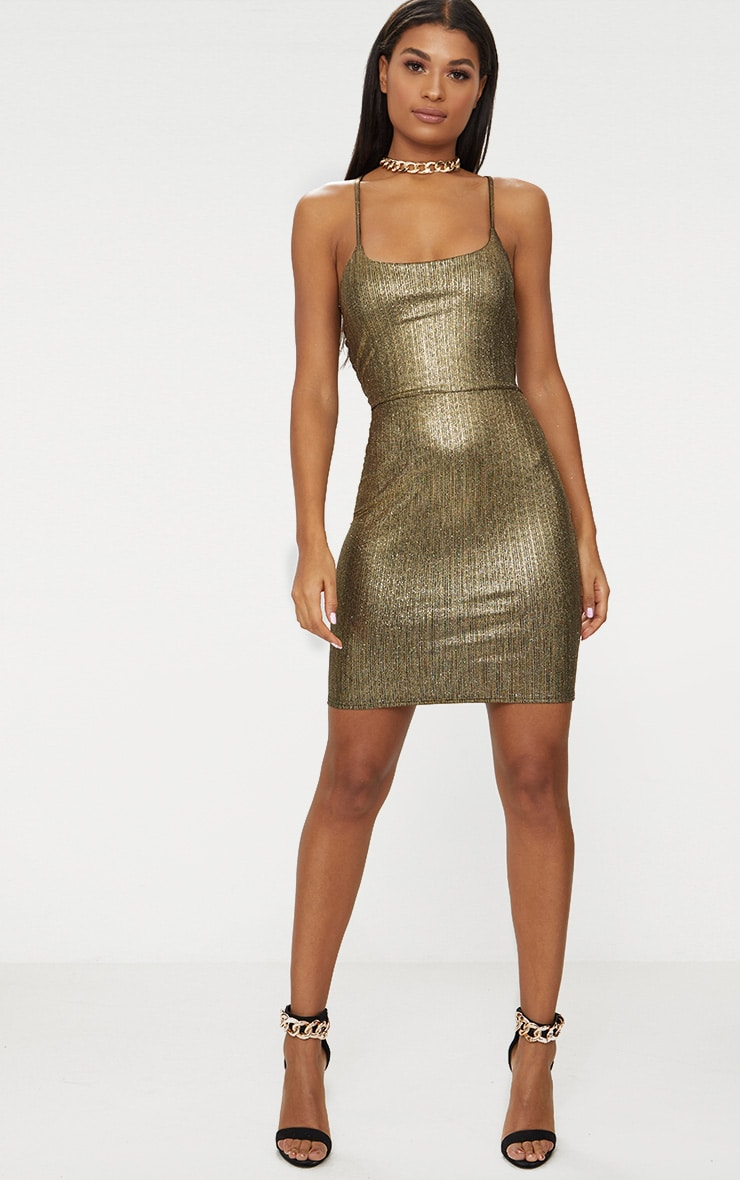 Gold Metallic Strappy Back Bodycon Dress  4