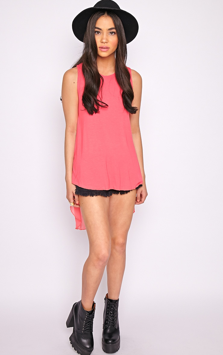 Malikah Fuschia Dip Hem Top With Sheer Back 5