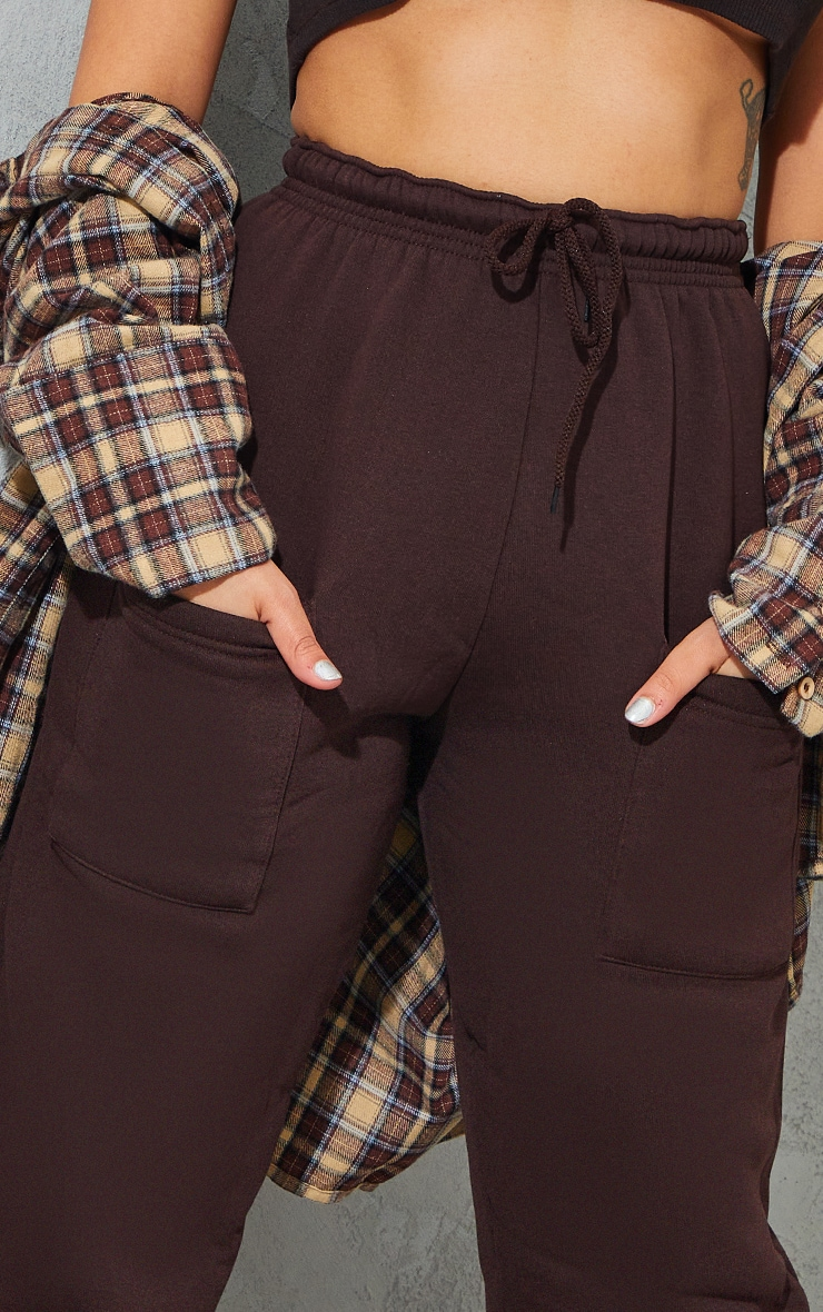 Petite Chocolate Brown Pocket Thigh Casual Joggers 4
